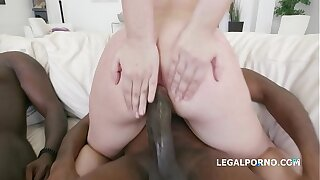Slightly legitimate 18-year-old Selvaggia DAP'ed to the extreme by 3 black dicks