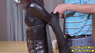 fejira com Catsuit girl is gagged in a diversity of ways